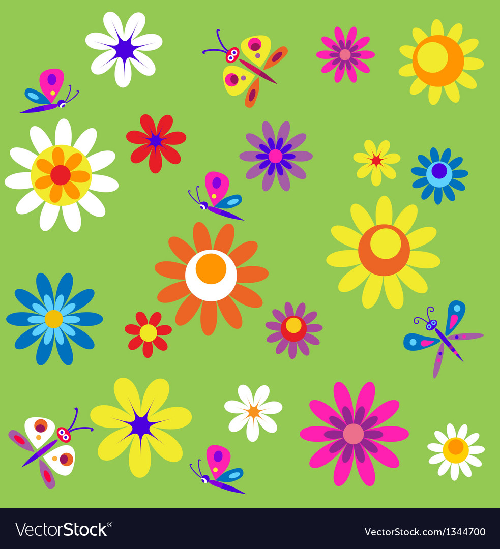 Template with flowers and butterflies of spring