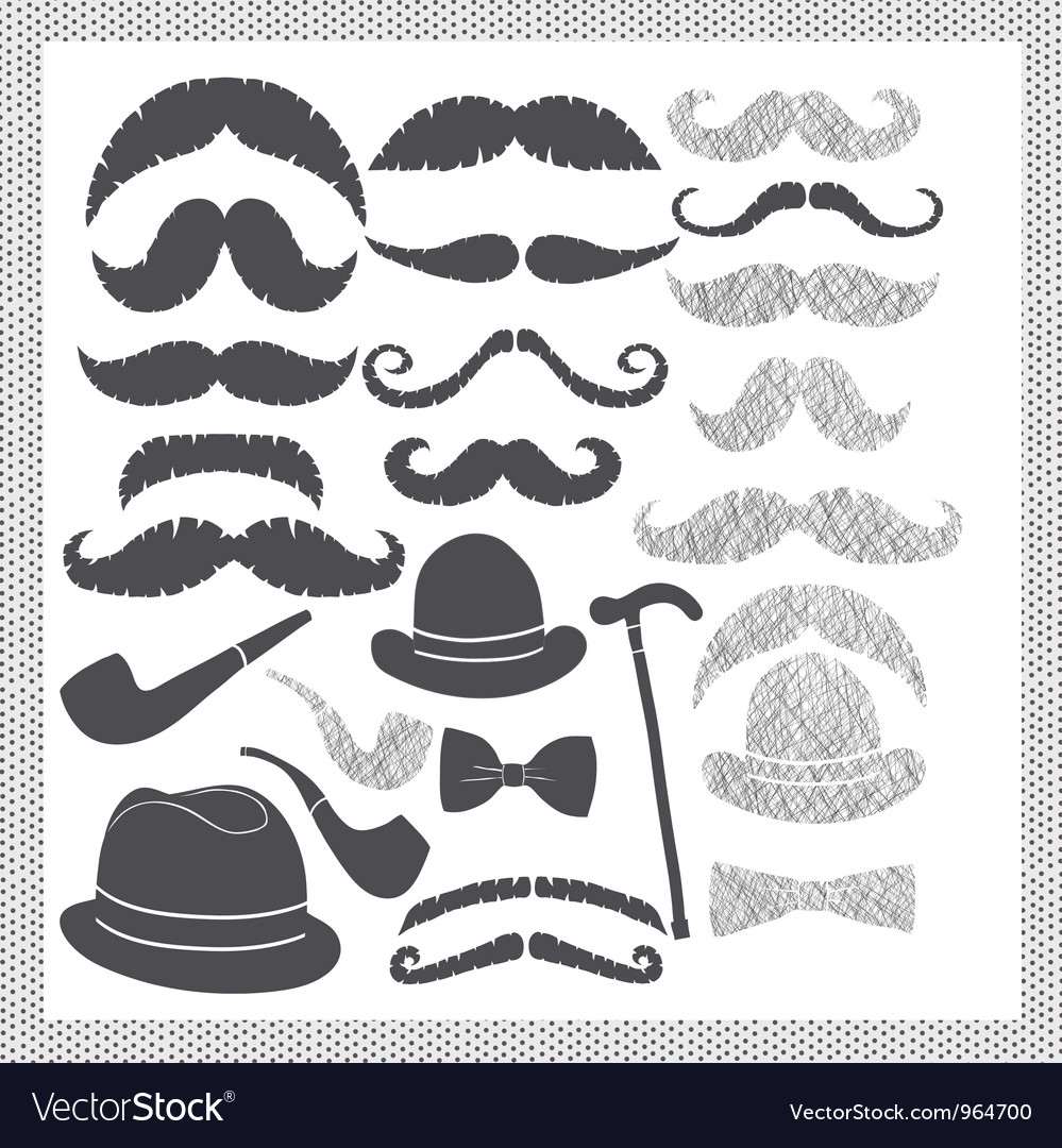 Vintage set with mustaches hats and pipes
