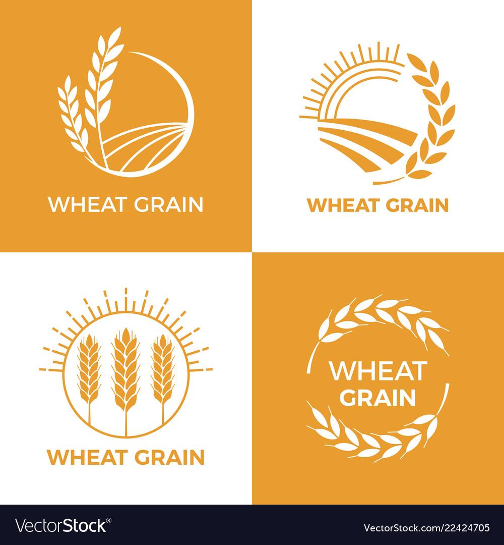 Baked wheat logo field wheats grain label bake