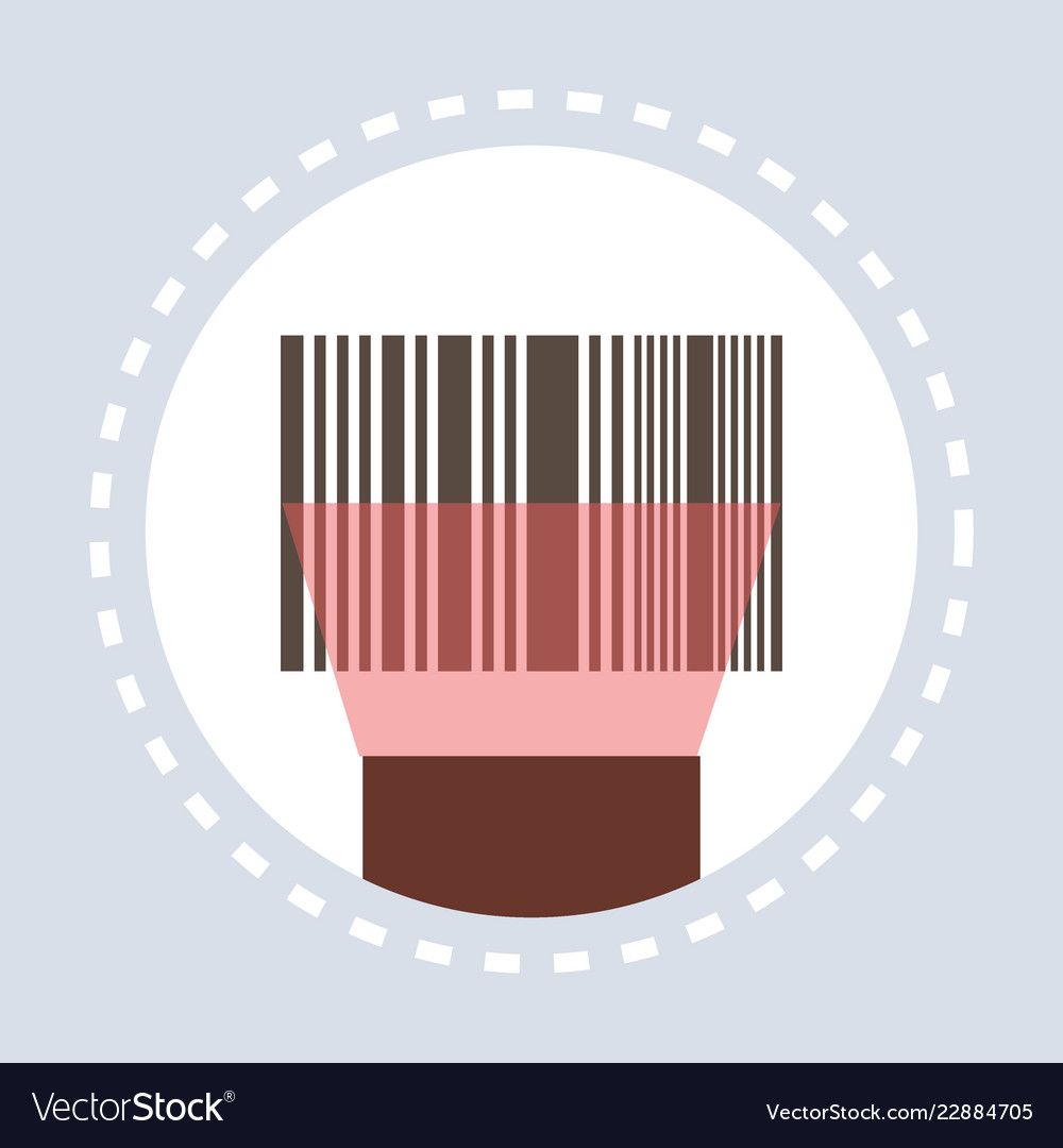 Barcode scanning equipment shopping icon concept