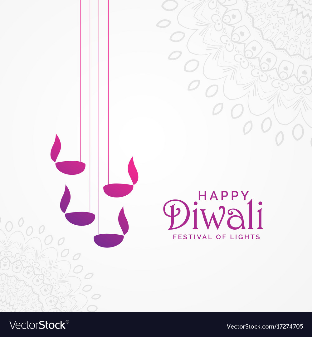 Beautiful happy diwali card design with hanging