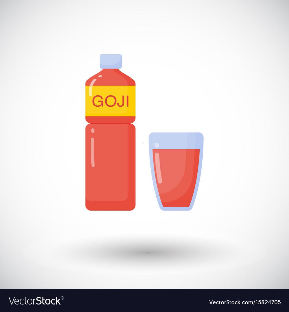 Goji Berries Juice Flat Icon Royalty Free Vector Image