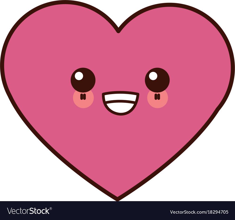 Human heart symbol kawaii cartoon