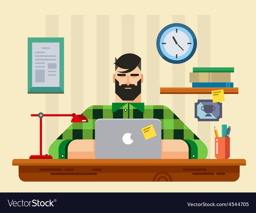 Man at a Desk in Front of Laptop vector image