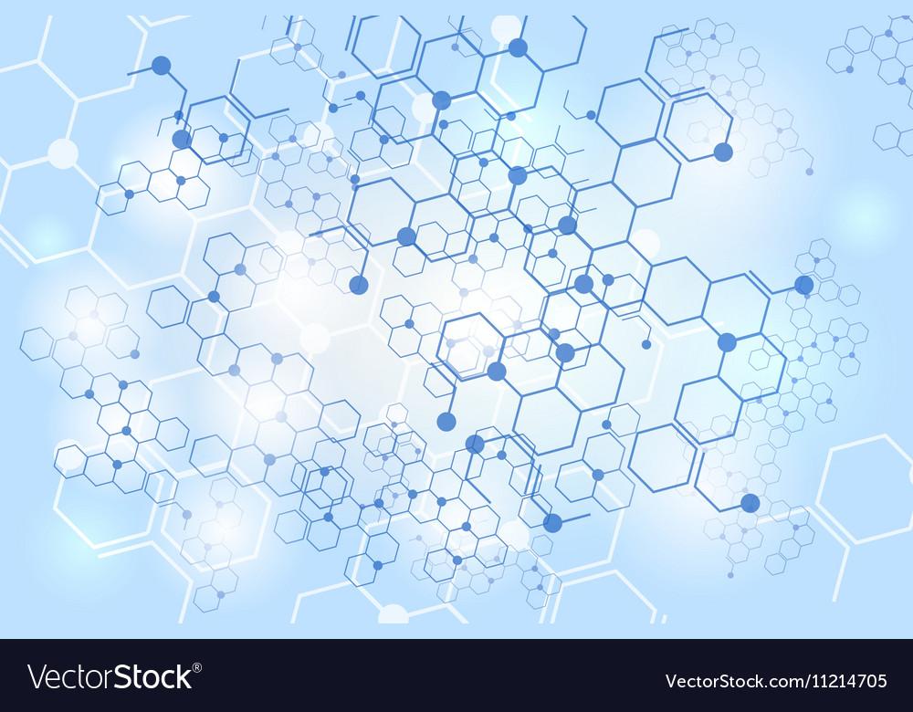 Molecular gene structure blue background