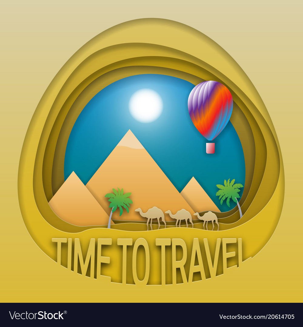 Time to travel emblem template pyramids camels