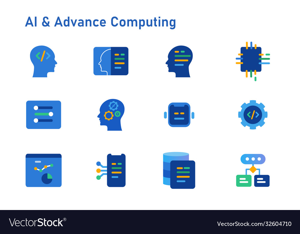 Ai artificial intelligence advance computing icon vector