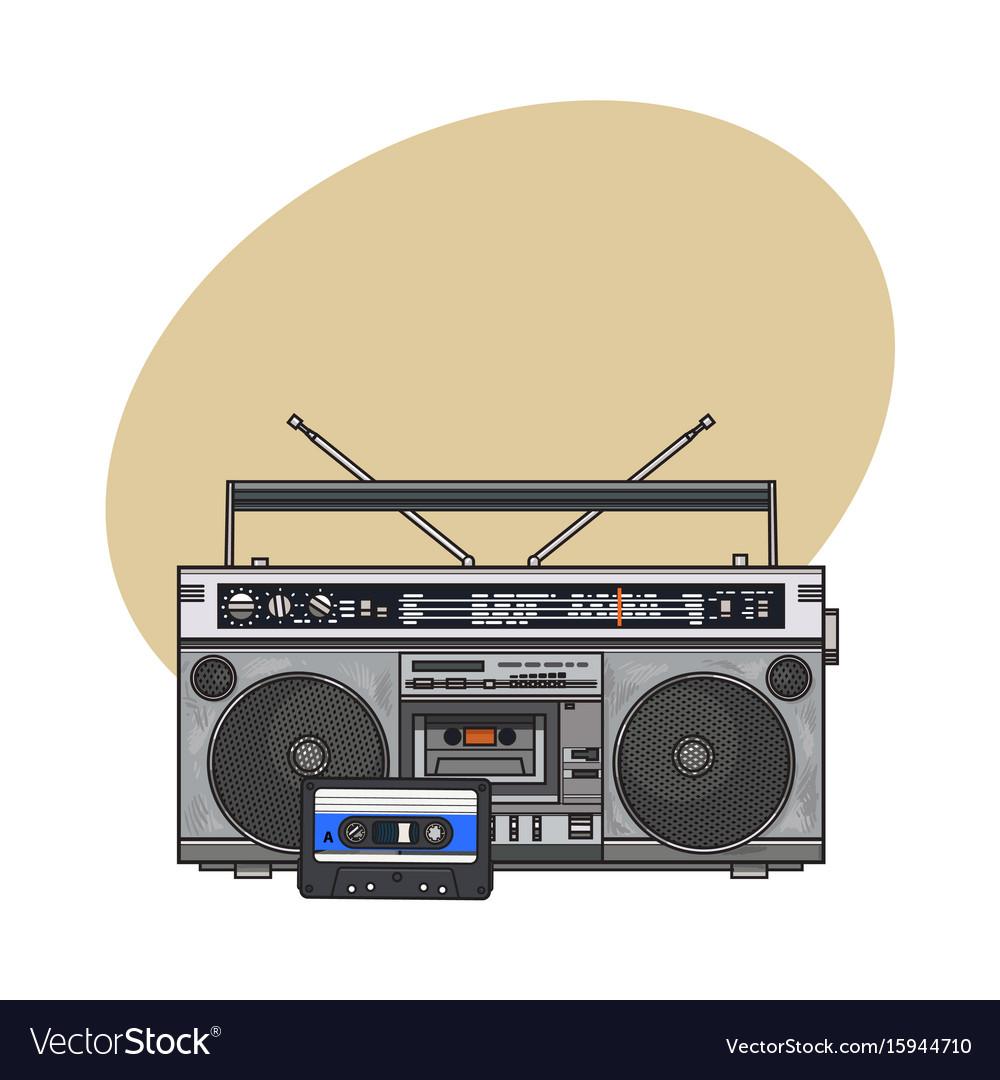 Audio tape recorder ghetto boom box and audiotape vector image
