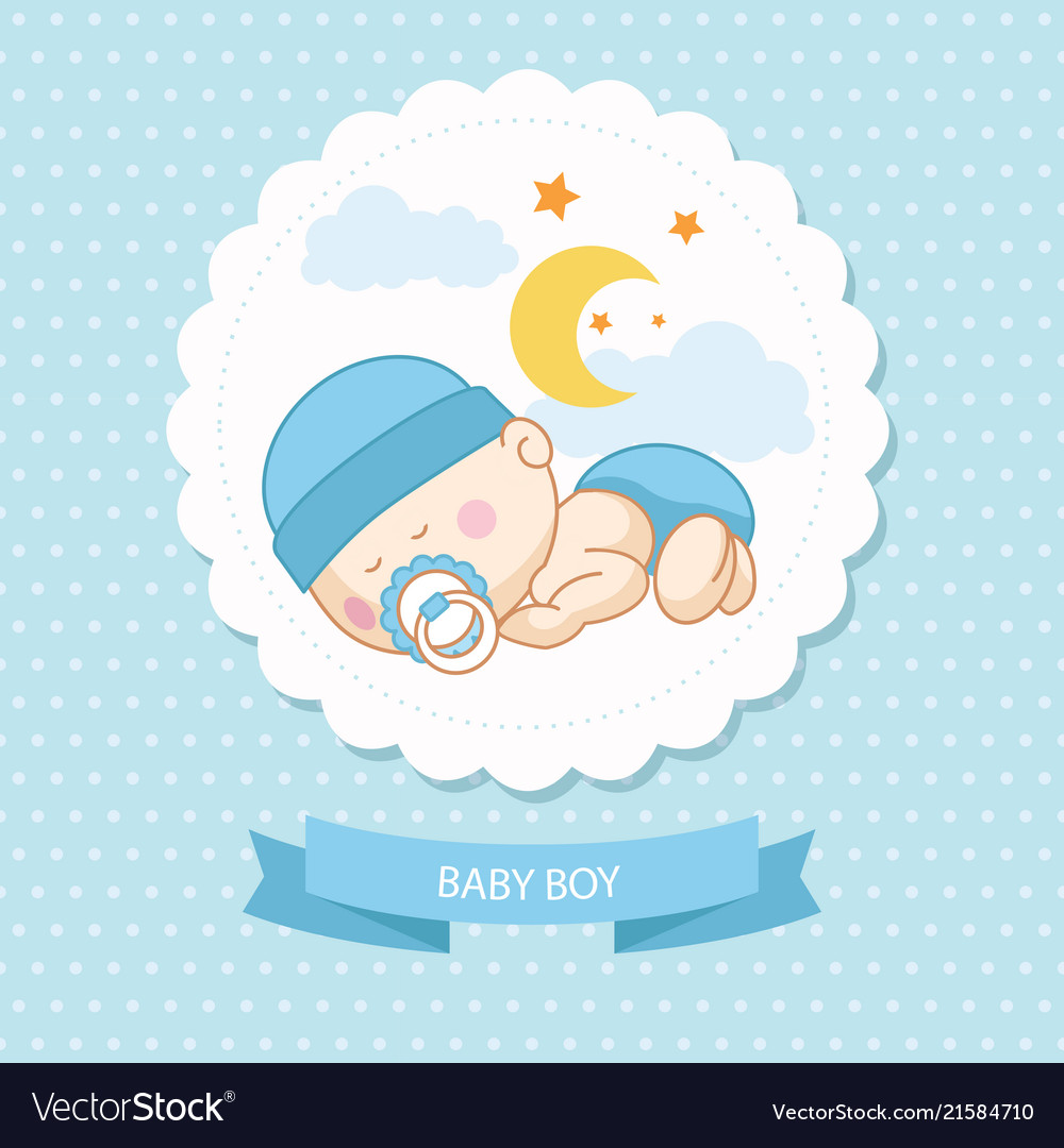 Baby New Born Boy Blue Card Shower Template