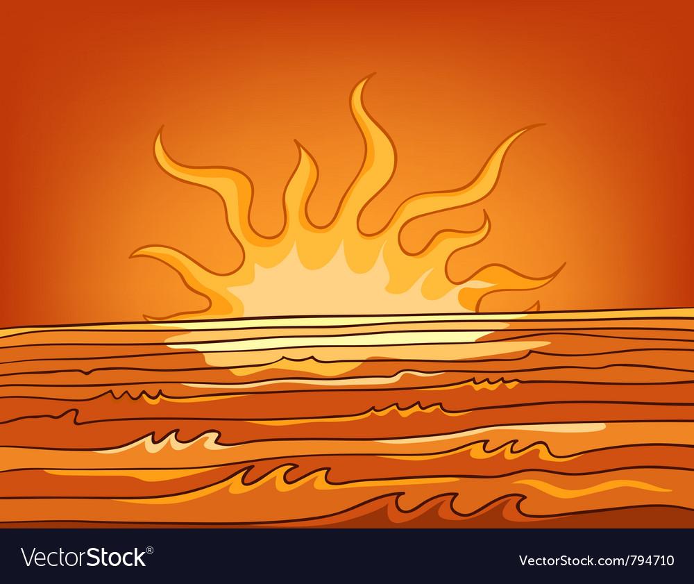 Cartoon nature landscape sea vector image