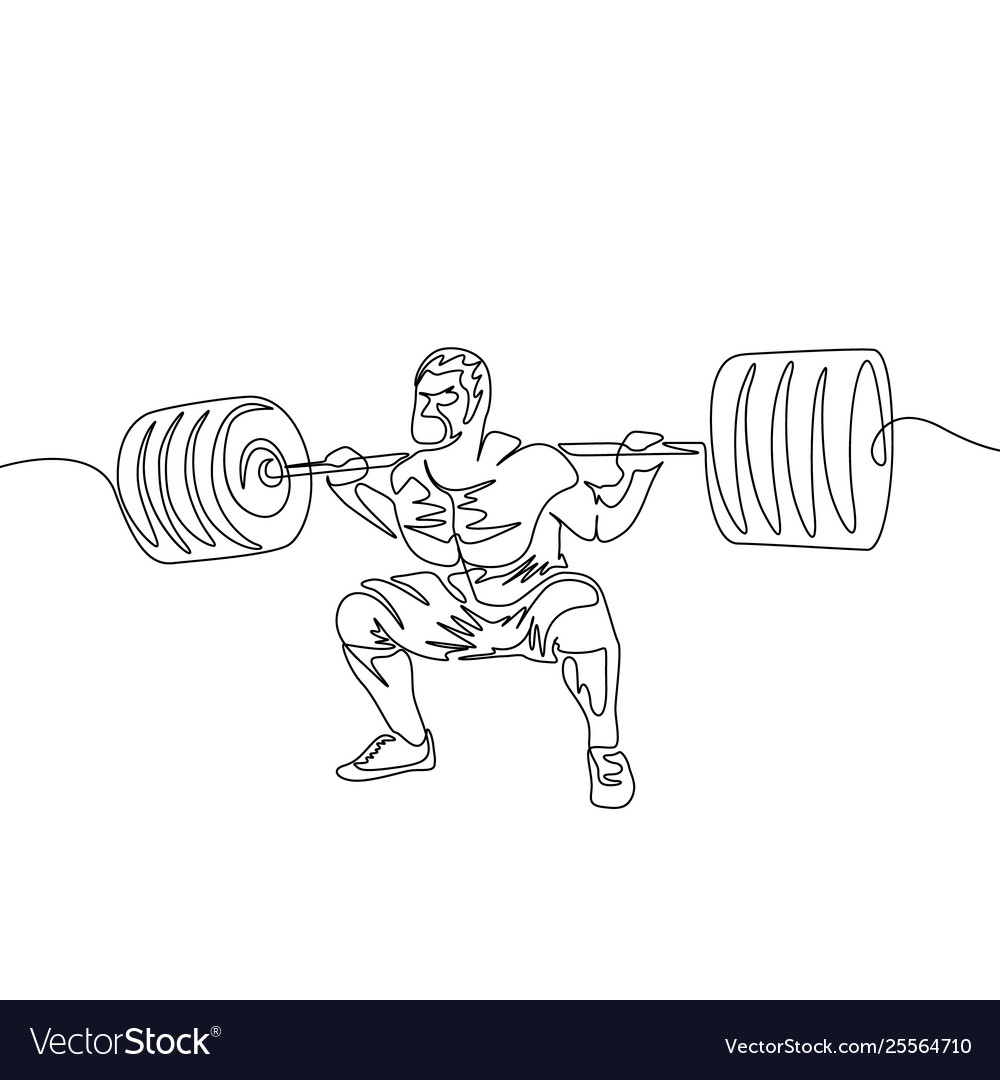 Continuous one line a man performs a squat with a