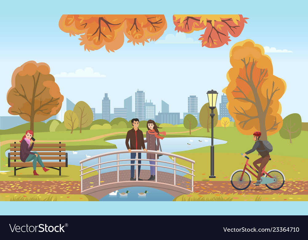Couple People In Love On Bridge Autumn Royalty Free Vector