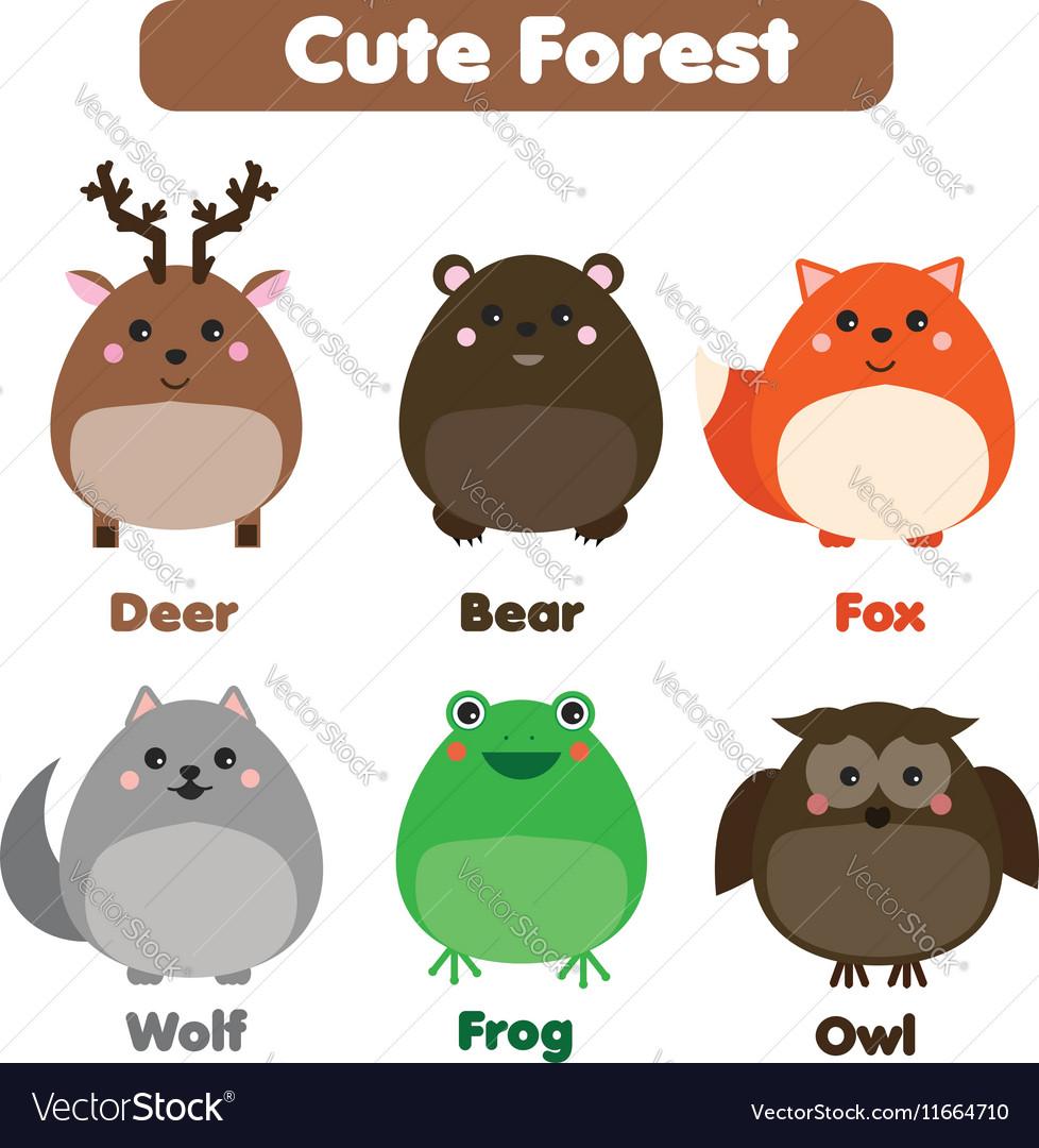 Cute forest animals wildlife set Children style vector image