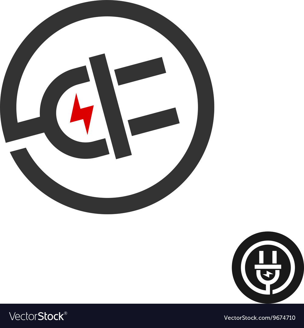 Electric Plug In Wire Icon Power Source Logo With Vector Image How To A