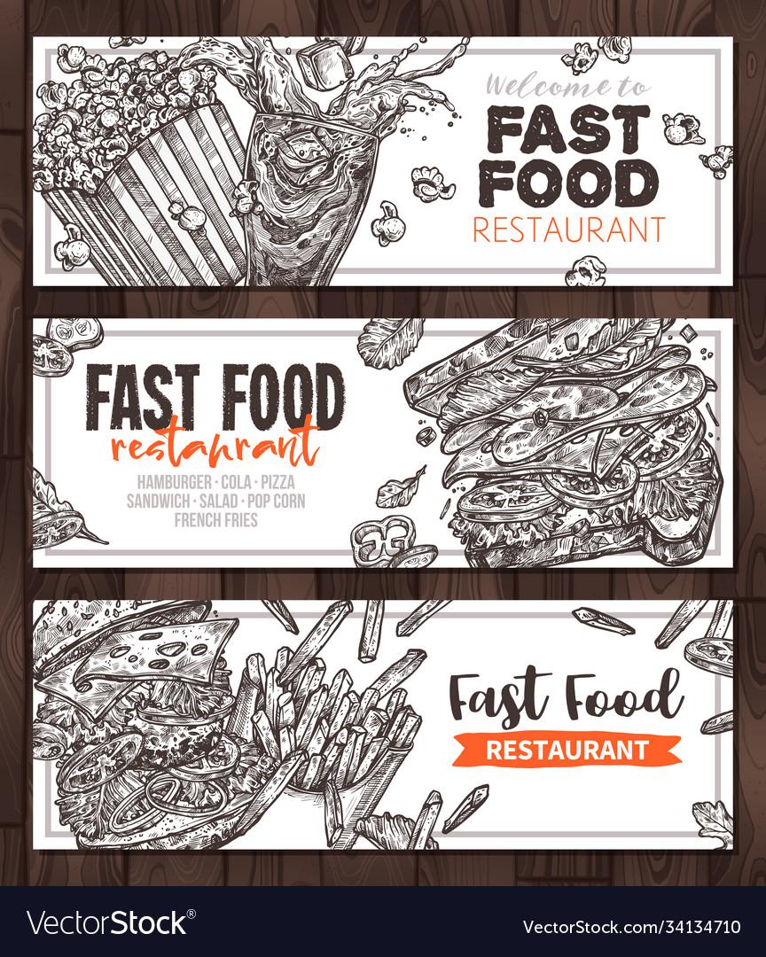 Fast food monochrome horizontal banners