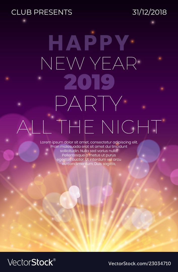 Happy 2019 new year night flyer banner concept