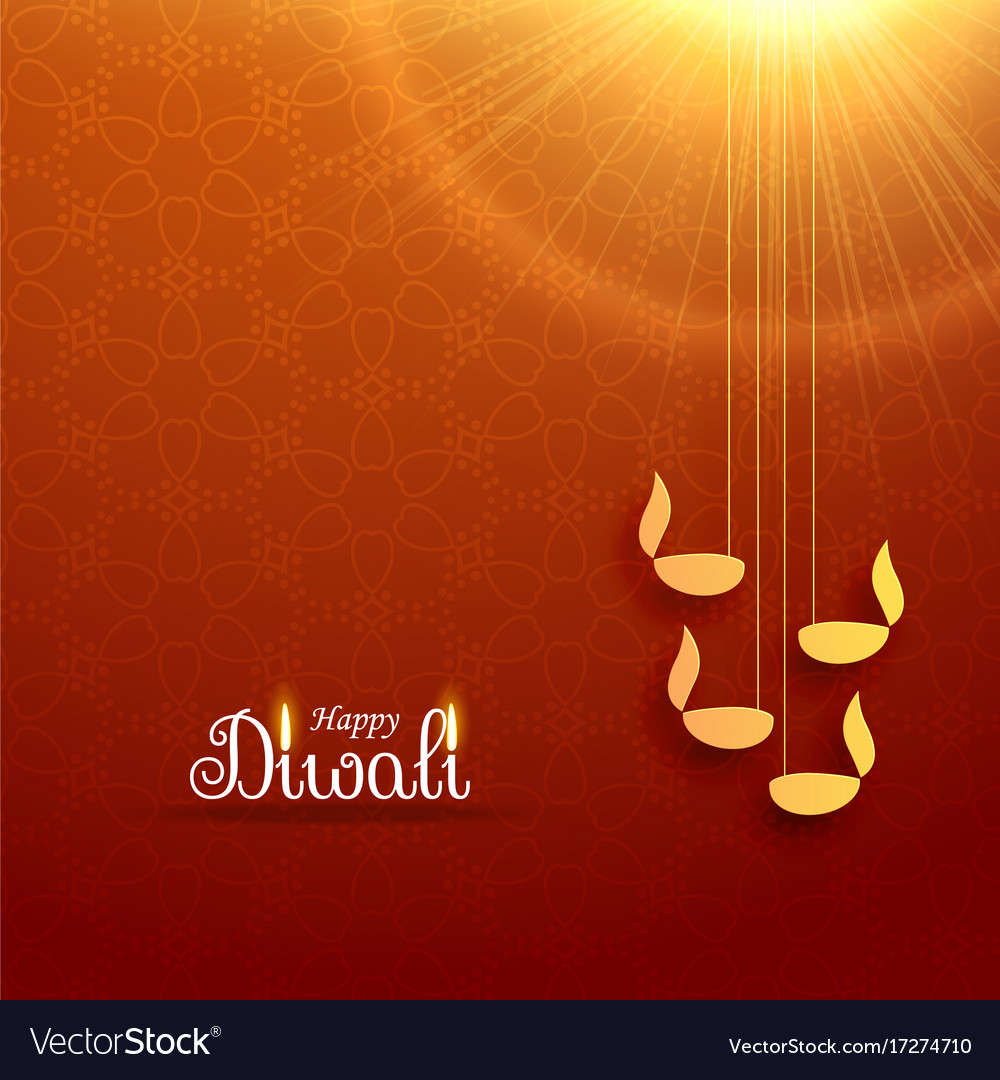 Hindu diwali festival greeting card design with vector image m4hsunfo