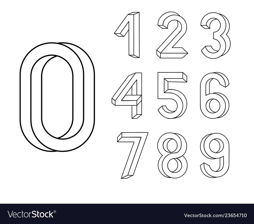 Impossible shape font memphis style letters