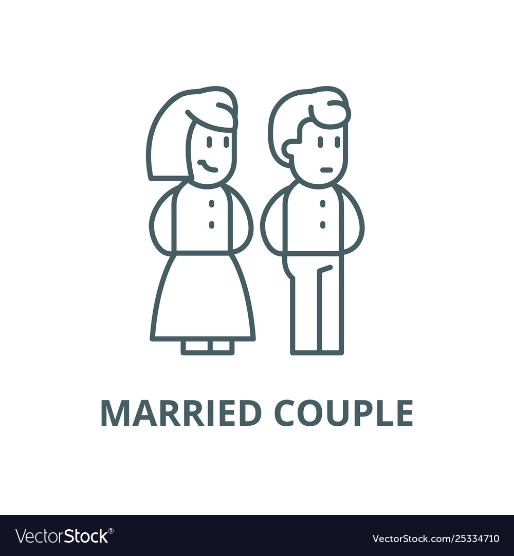Married couple line icon linear concept