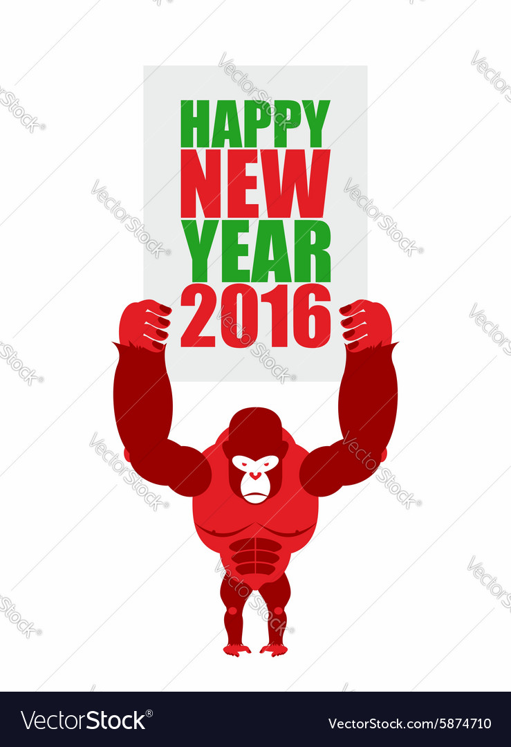 Monkey holds a plate of Happy new year 2016 Big