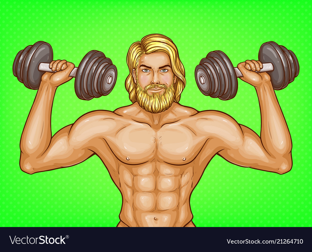 Pop art strong man with dumbbells