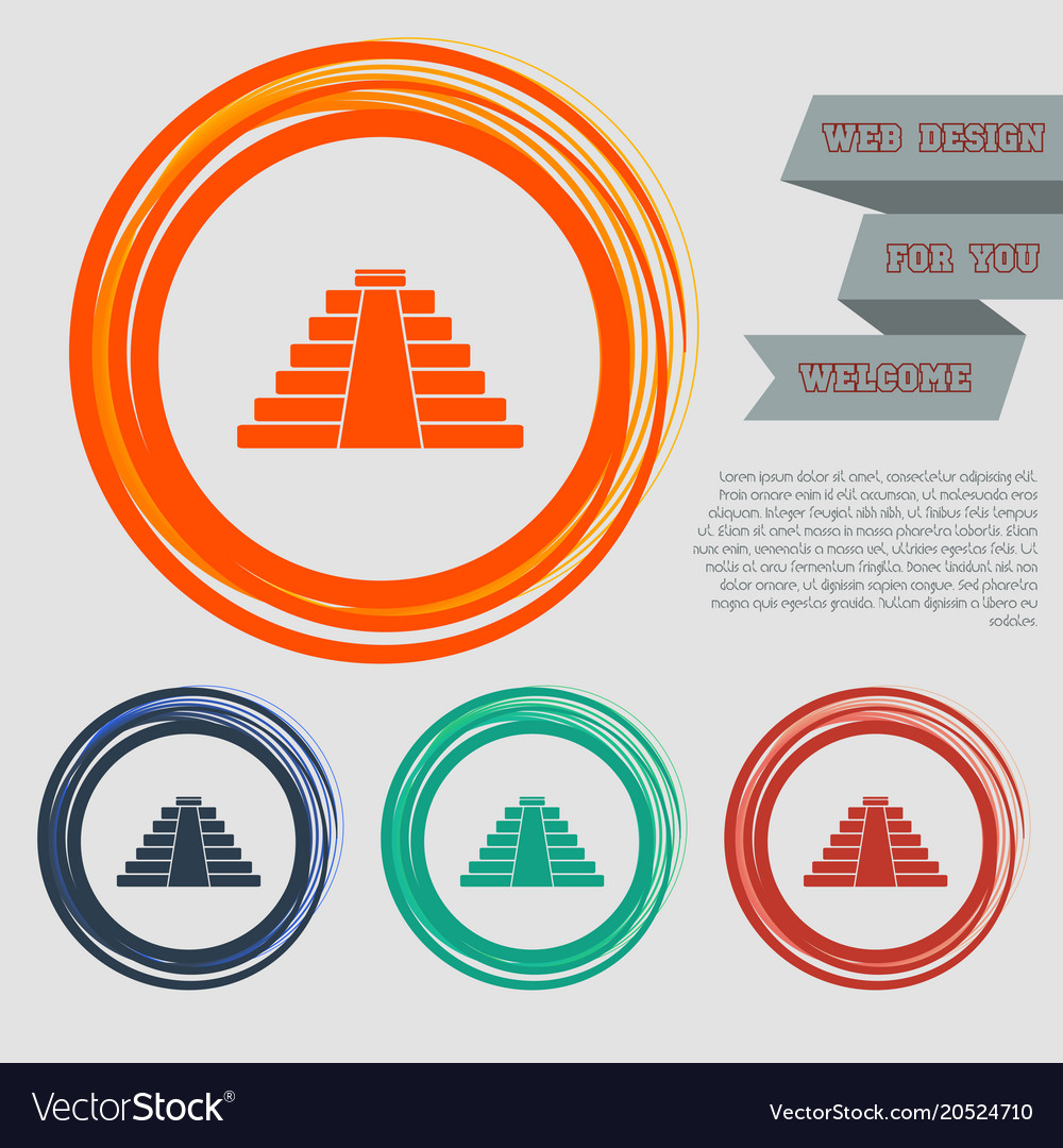 Pyramid icon on red blue green orange buttons