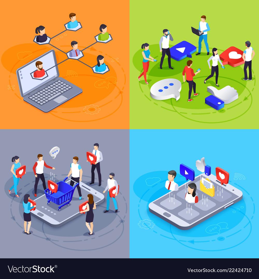 Social media isometric concept digital marketing