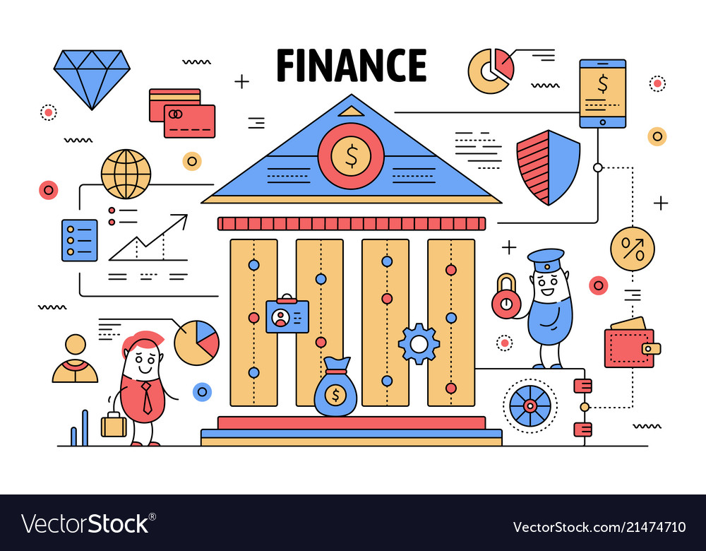 Thin line finance poster banner template