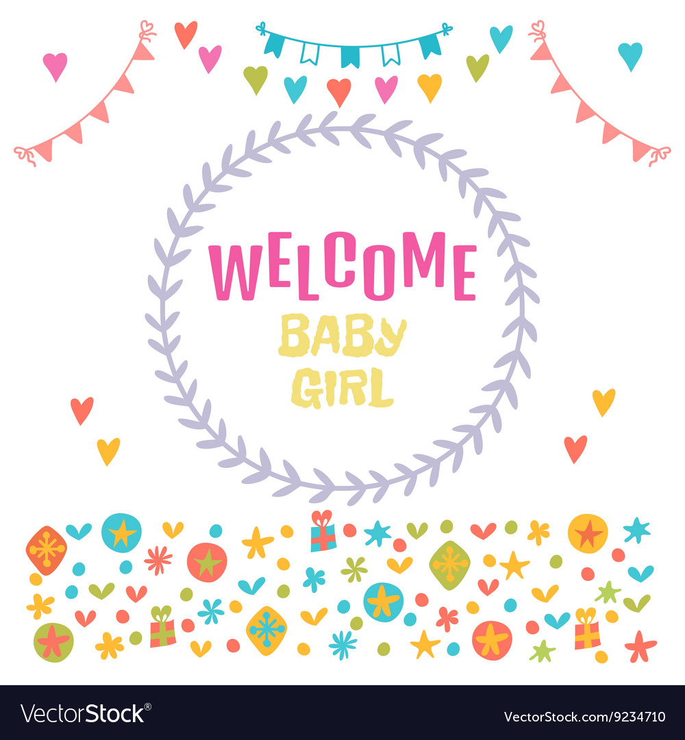 Welcome baby girl Baby girl shower card Baby
