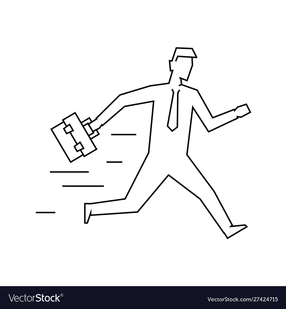 Businessman with case running linear
