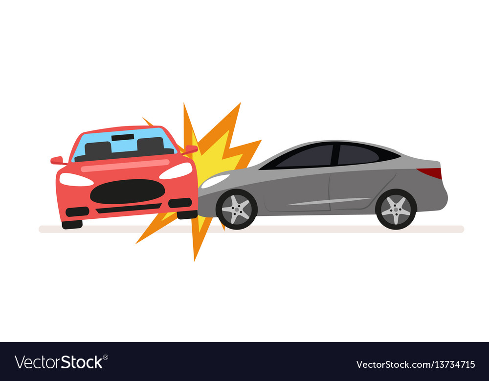 Collision of cars car crash involving two cars a