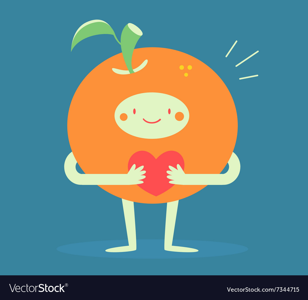 Cute Orange Hugging a Heart