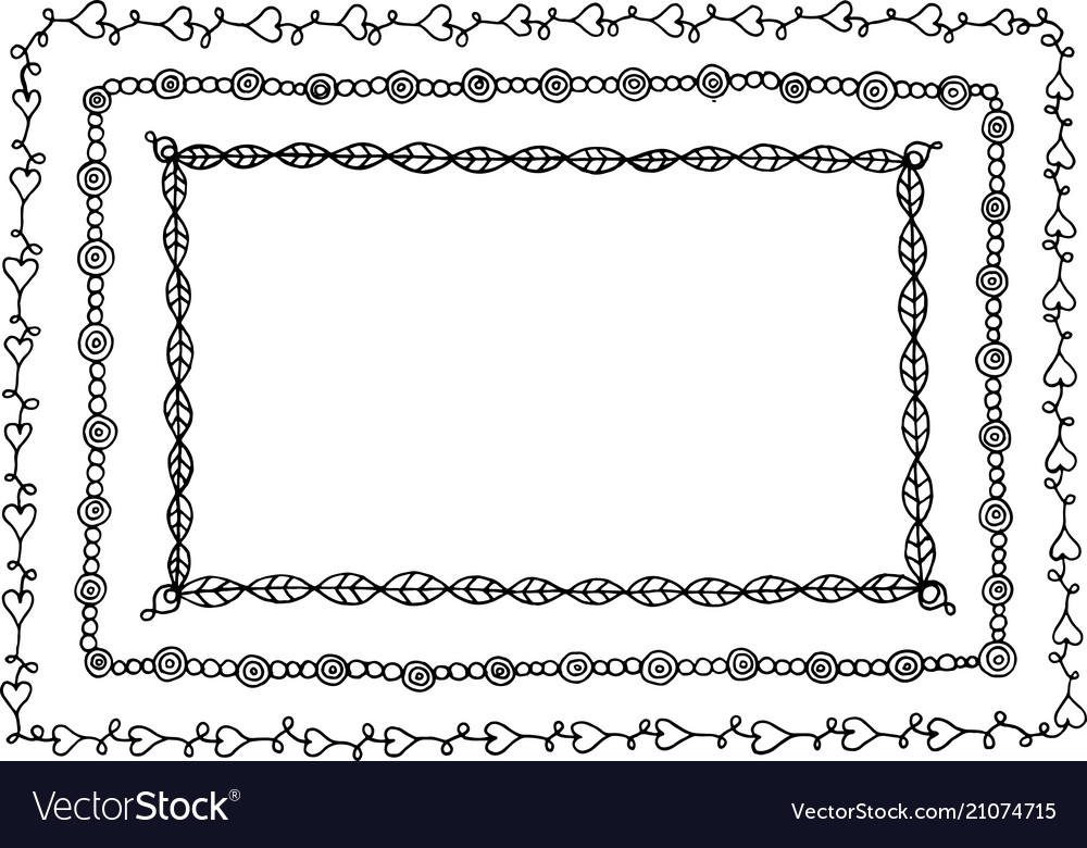 Doodle frame with hearts leaves and circles