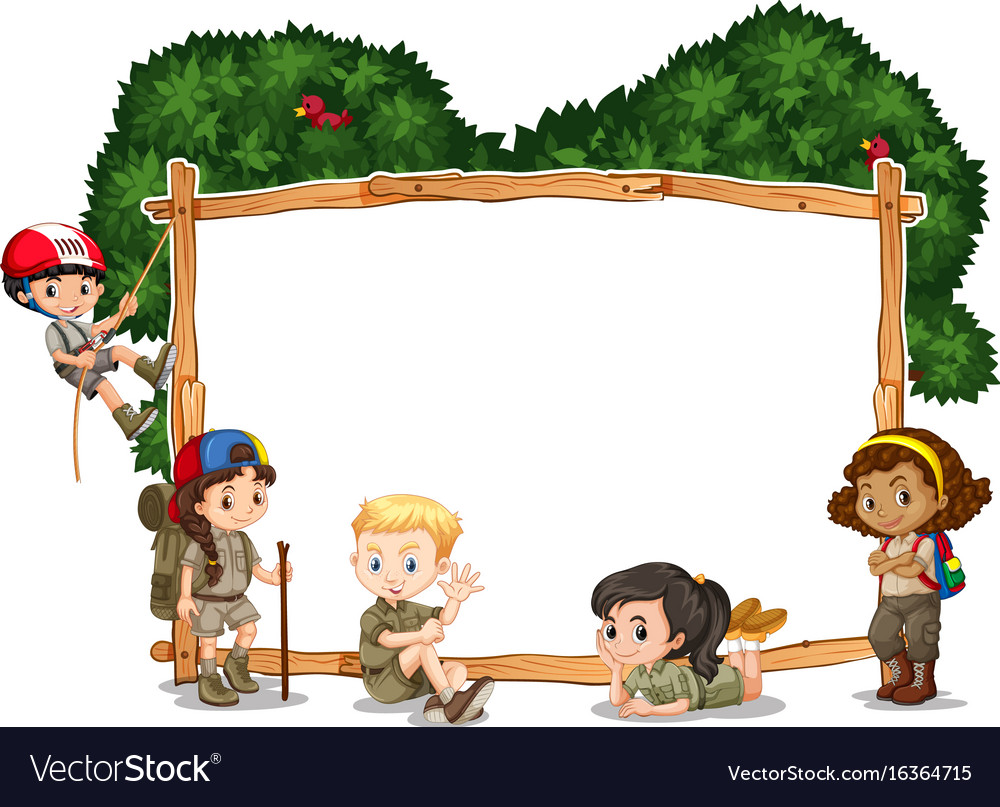 Frame template with kids camping in background Vector Image