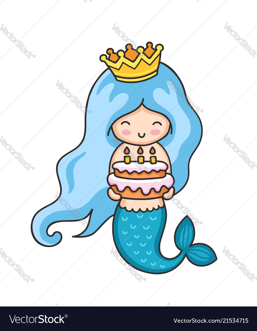 Miraculous Little Mermaid With Birthday Cake Royalty Free Vector Image Funny Birthday Cards Online Fluifree Goldxyz