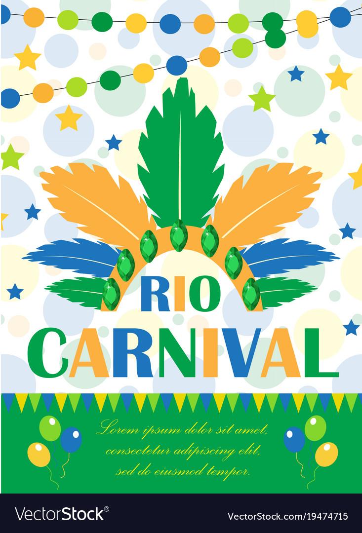 Rio Carnival Poster Invitation Flyer Template Vector Image