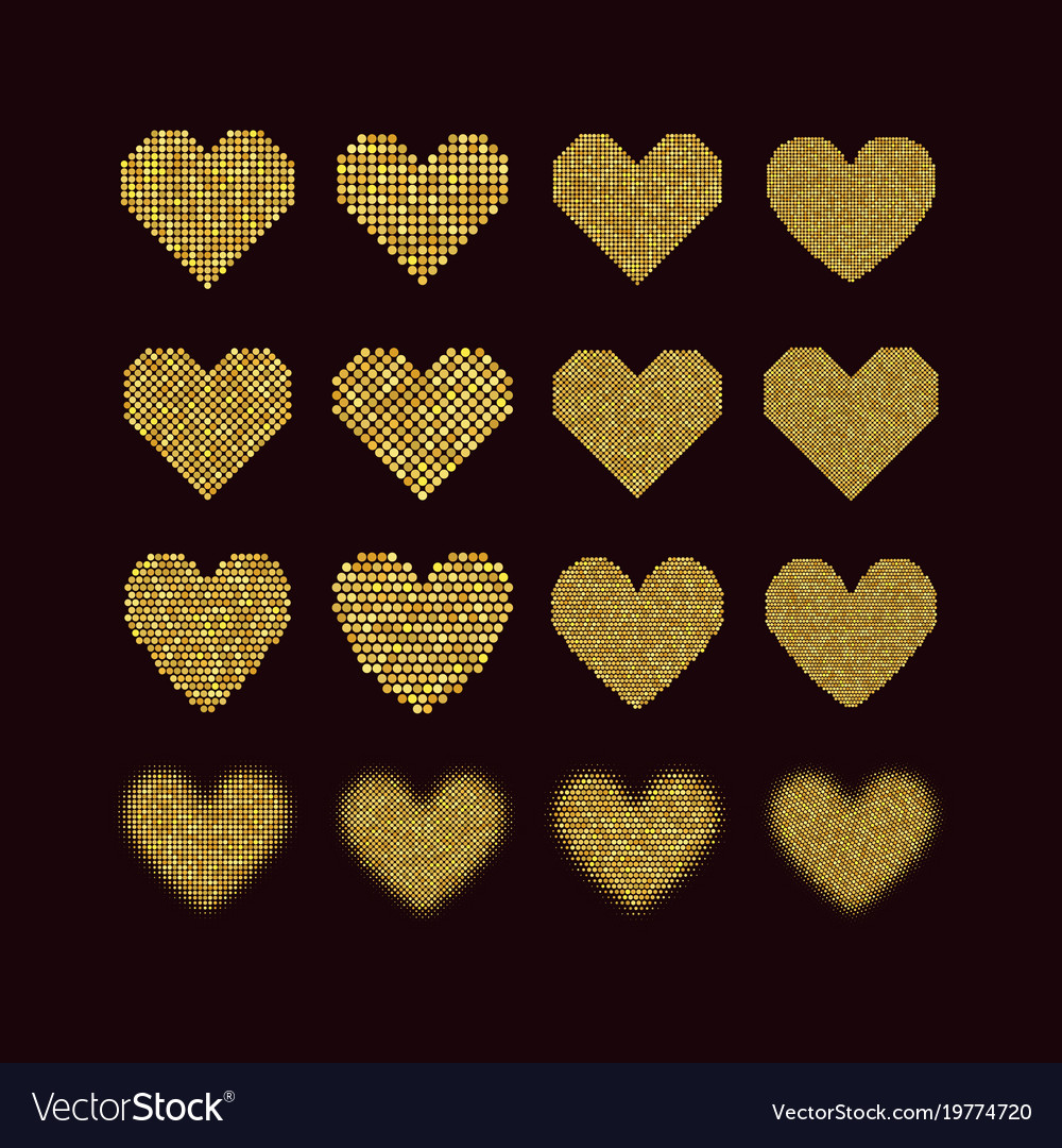 A set of halftone hearts vector image