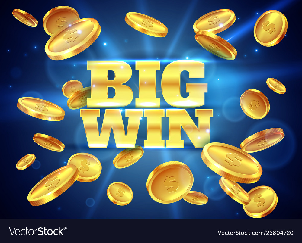 Big win prize label with gold flying coins