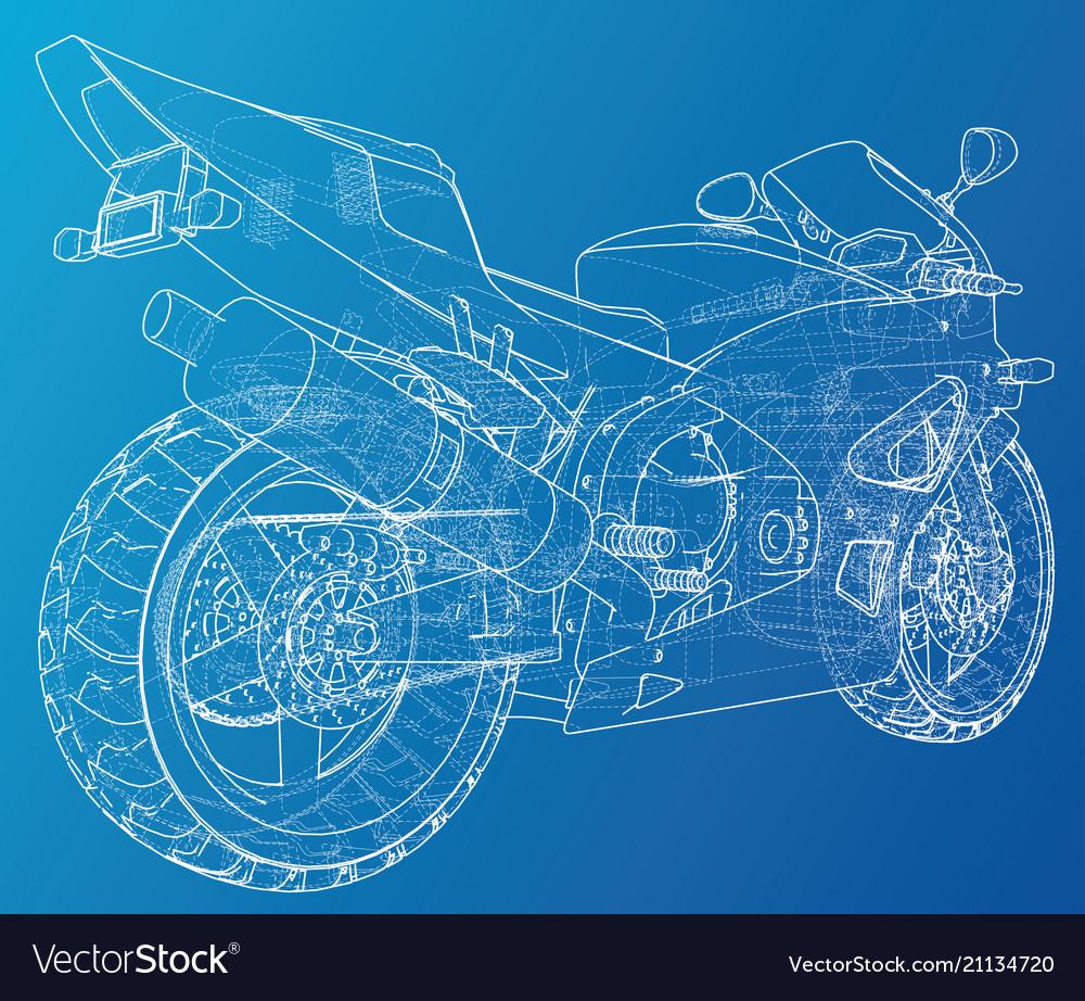 Blueprint sport bike eps10 format created