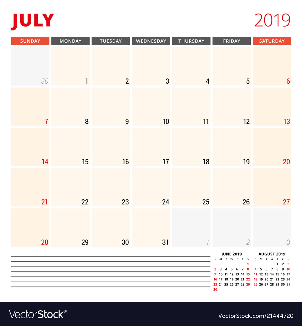 Calendar Planner Template For July 2019 Week