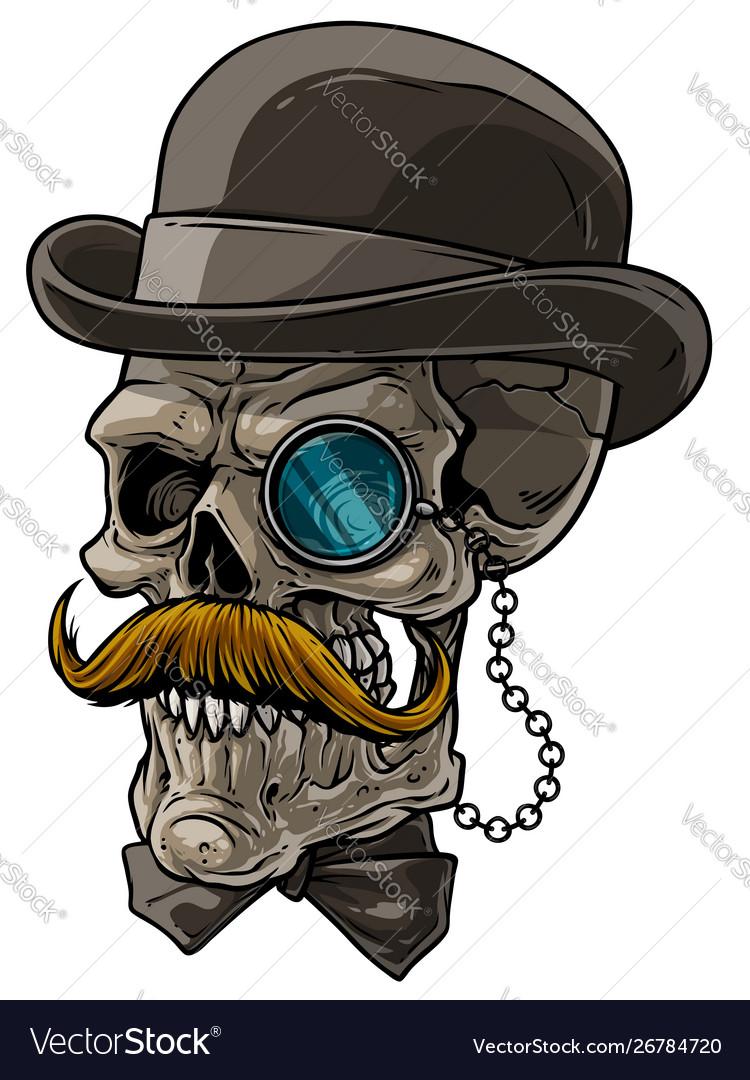 Cartoon gentleman skull with black hat and monocle
