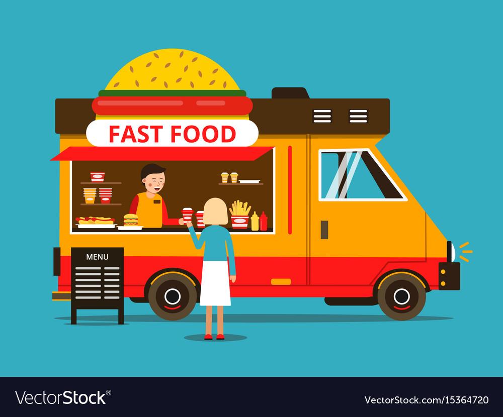 Cartoon of food truck on the street