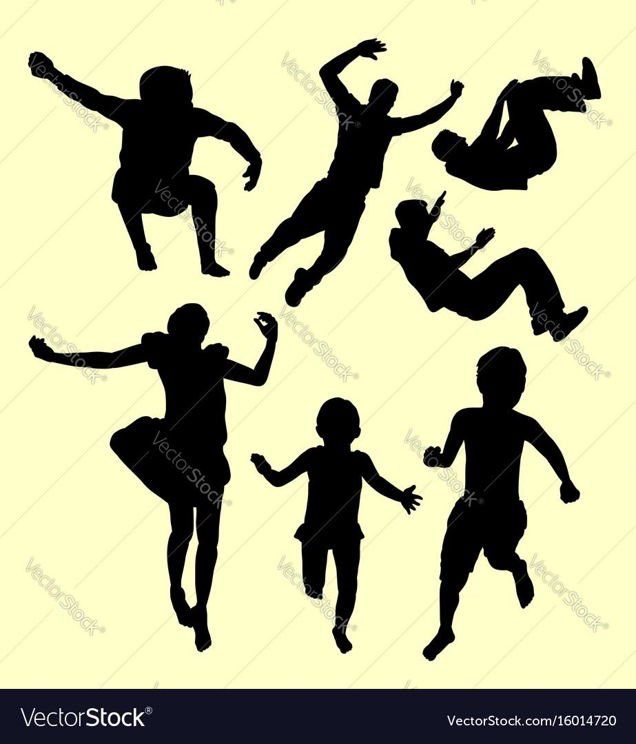 Children training sport silhouette