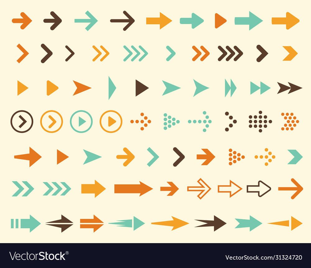 Collection arrows icons in retro style and in