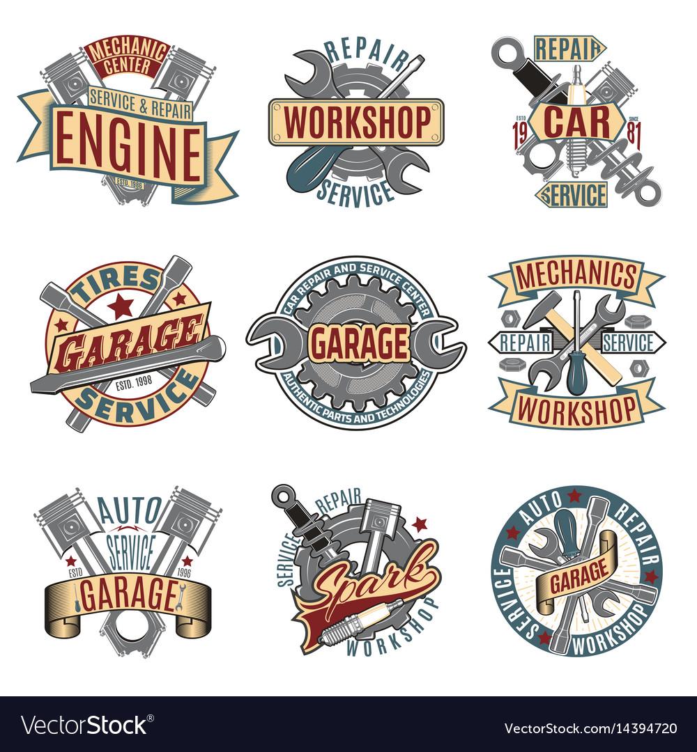 Colored auto repair service logotypes set