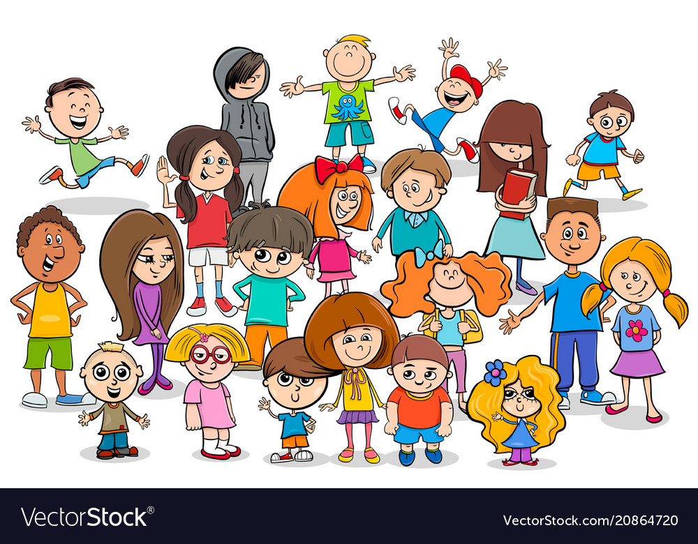 Funny Children Cartoon Characters Group Royalty Free Vector - Toddler-cartoon-characters