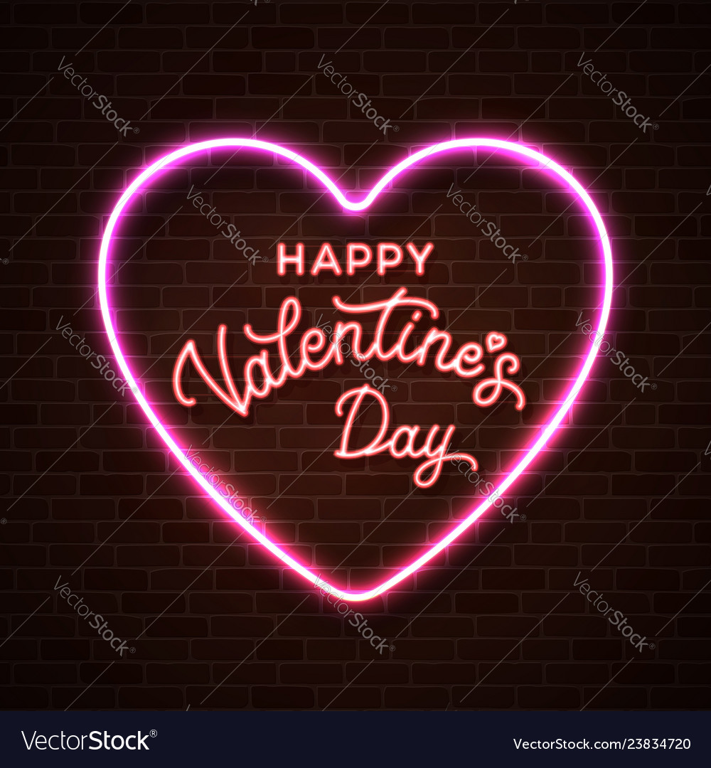 Happy valentines day neon lettering inscription