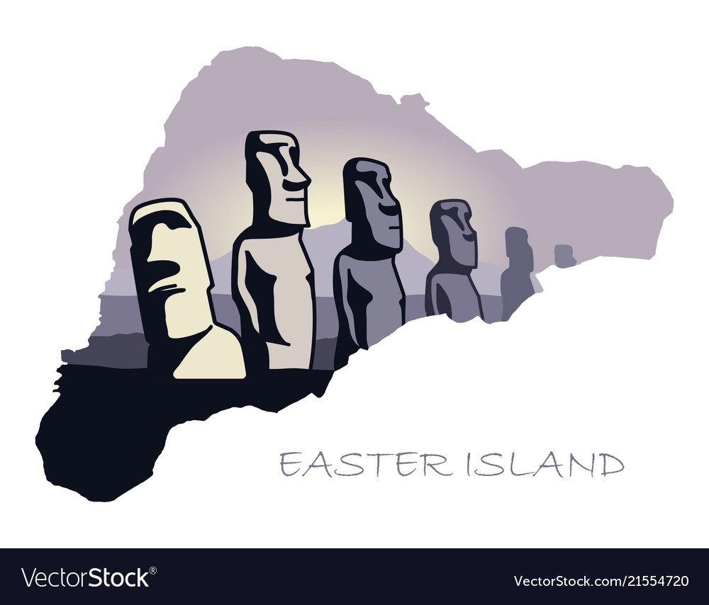 Map of easter island with the image of attractions