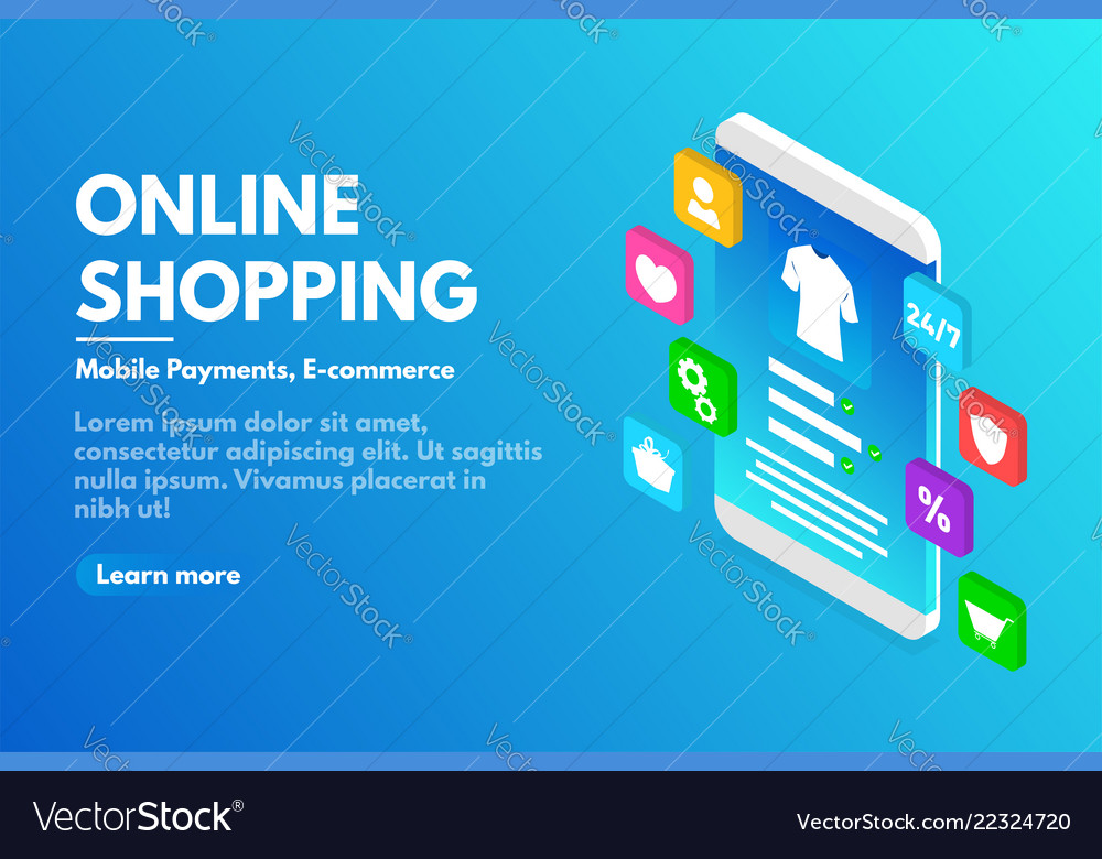Online shopping concept isometric smartphone