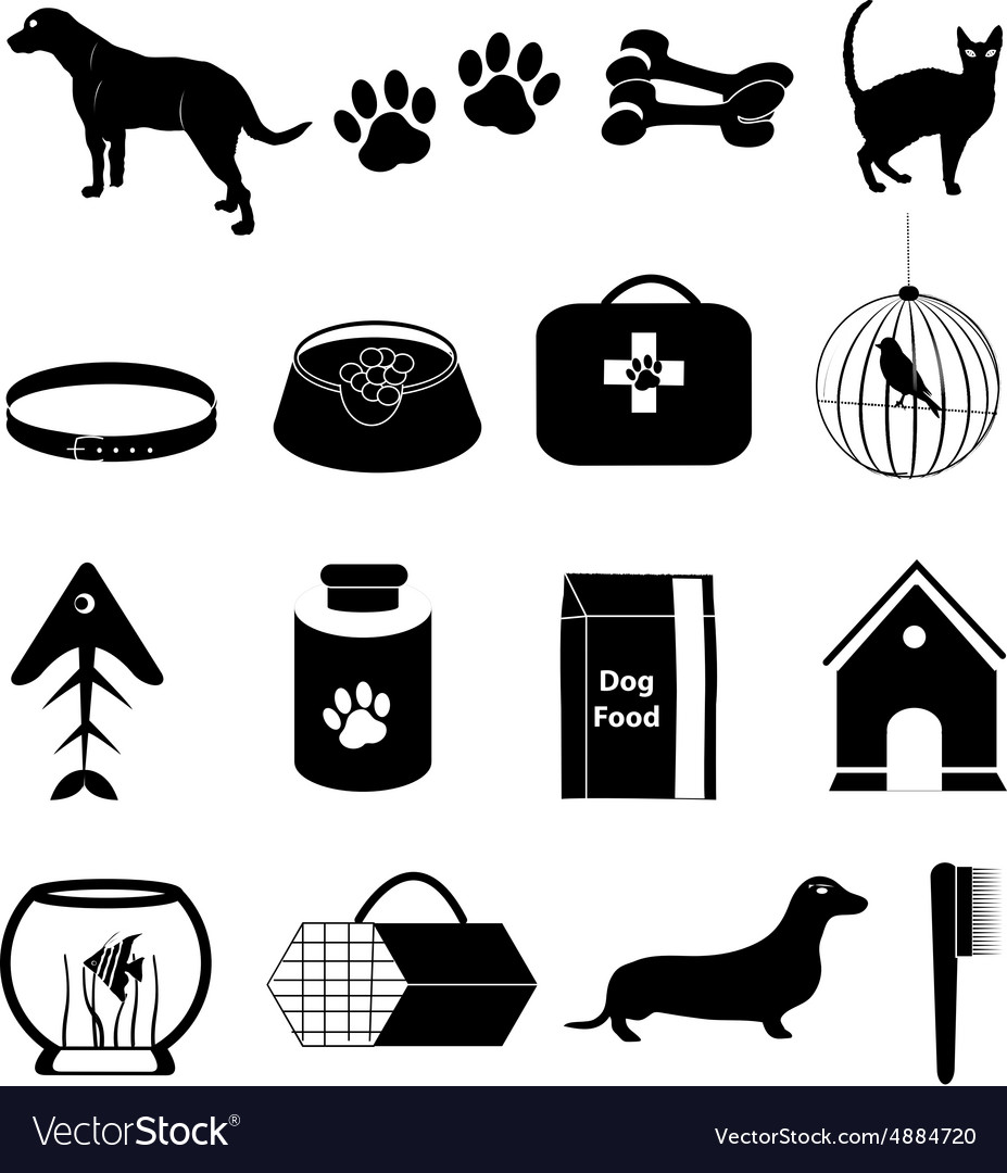 Pet dogs icons set